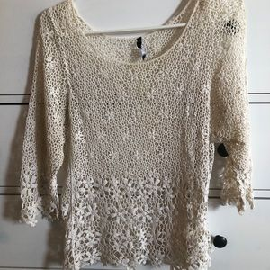 Love culture white crochet beach cover up top